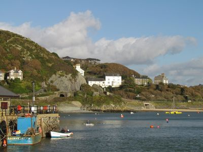 View towards the property (the white house) from Barmouth harbour