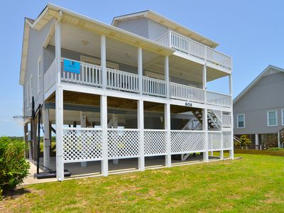 "Photo for NOW PET FRIENDLY!  ""Buck Stops Here"" - Relax and breath in the salt air from the ocean facing front porch of this 2nd Row home on the West End."