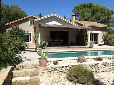 Photo for Nimes in the heart of the scrubland, large mazet renovated with private pool.