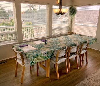 Large open dining room, enough room to seat 12.  high chair also available.