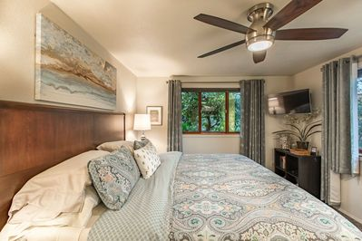 Light filled bedroom with King Bed