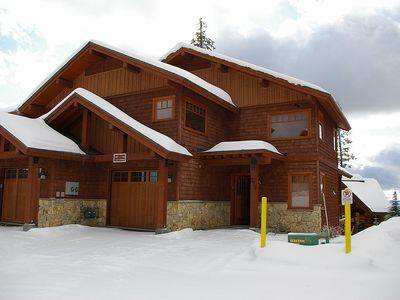 Front of Rockridge 376, Big White, BC - Right hand side of duplex. 1 car garage and 1 space infront.