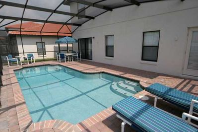 The south-facing pool overlooks the community commons.