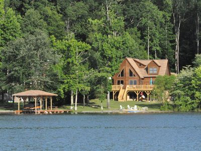 Photo for Captivating 5 Bed/5 Bath Lake Front Log Cabin W/ Private Cove & Sandy Beach.