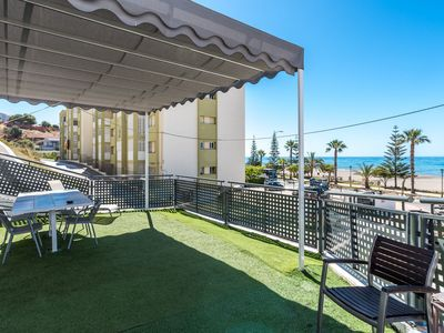 Photo for Air-Conditioned Apartment Directly on the Beach with Amazing View, Terrace & Wi-Fi; Pets Allowed; Street Parking Available
