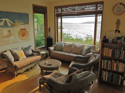 Living area. View of Whidbey Island and Skagit Bay.