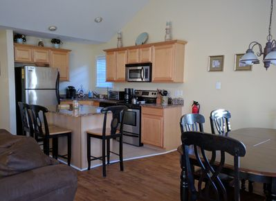 Beautiful upgraded and fully stocked kitchen.