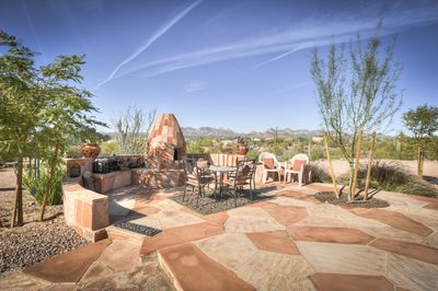 Stone Kiva fireplace and private patio areas for your enjoyment