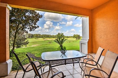 Relax on the private patio and watch the golfers!