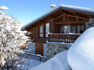 Photo for Ensuite catered chalet (demi pension) 20m to piste jacuzzi fireplace boot warmer