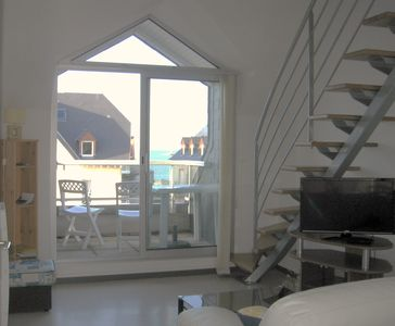 Photo for Erquy: large, bright apartment with sea views lift