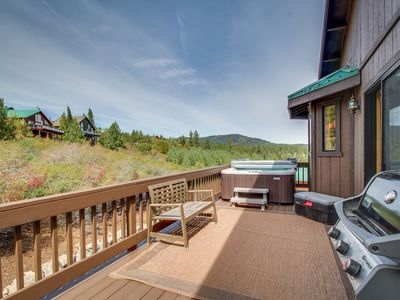 Photo for Dog--friendly mtn home w/ private hot tub, shared pool, on-site golf, & more!