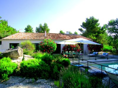 Photo for GREEK STYLE AC VILLA WITH POOL FOR 8 POEPLE 1KM TO THE VILLAGE