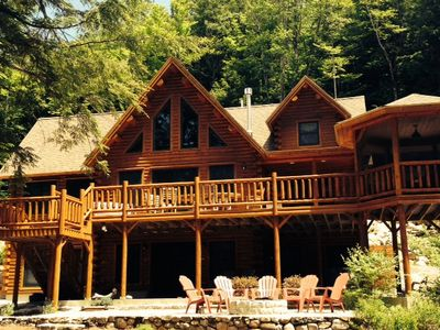 Photo for Lakefront Log Home, Private, 4  Bedroom, 3 Bath, Mountains, Peaceful, Waterfront