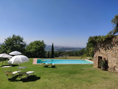 Photo for Farmhouse apartment in the Siena hills, large pool, only 30 minutes to Siena