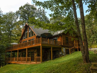 Photo for Exquisite 4 Bedroom Log Home offers Luxurious accomodations & privacy!