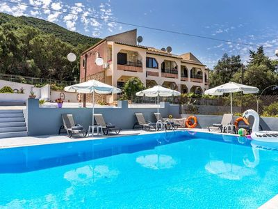 Photo for Great apartments with 90 sqm pool, close to the sea | Paramonas, Corfu