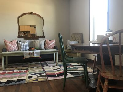 Historic Main Street Studio, vintage charm with modern country comfort.