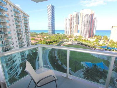 Photo for Large 1 Bedroom Ocean View ( 1005 sqft's) apartment fully furnished for 4 guests. Located at Ocean Reserve Condominium ( just across street from the beach ! Includes: Parking , Internet Wi-Fi