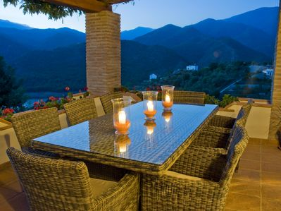 Front Dining terrace at Dusk