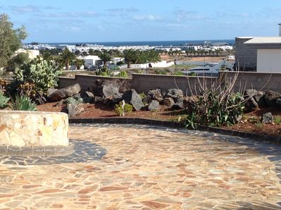The stunning sea views from the downstairs terrace