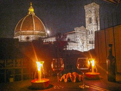 Photo for Florence Rooftop Terrace Apartment View of Cathedral Dome