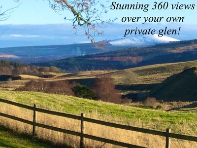 360 stunning views all around and over private glen. Peace and tranquility!