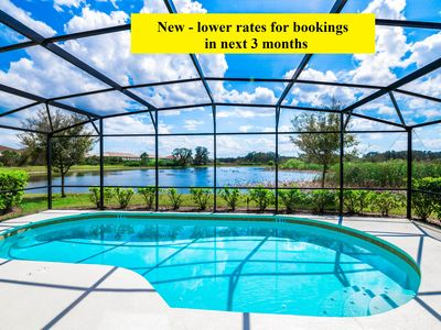 Photo for Stunning Spacious 6 bedroom south facing resort pool home near Disney-Golf