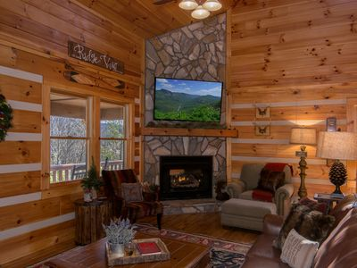 Photo for *Luxury Cabin*:2 king/3 queen+firepit+fireplace+3 smart TVs, large decks