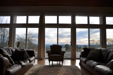 Main House - Great room facing west - looks out on multiple mountain ranges