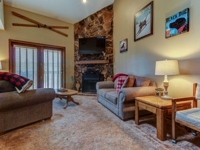 Photo for Comfortable condo near the slopes w/ balcony offering mountain and village views