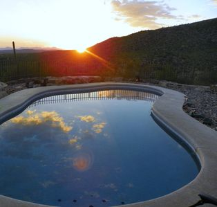 Tucson sunset with the heated pool