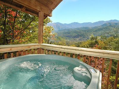 Photo for Private  Gatlinburg Honeymoon Cabin With Great Views Hot Tub Jacuzzi pool Table Fireplace Kitchen