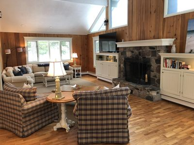 Photo for Knotty pine + modern comfort on wooded lot close to gorgeous Lake Michigan beach