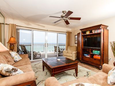 Living Room - Spacious beach front living room with balcony access and awesome views!