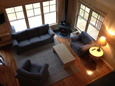 View of the living room from the loft, great area for conversing and relaxing!