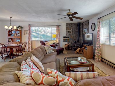 Rustic, dog-friendly getaway w/ a shared pool, tennis, & nearby beach access