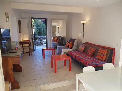 Photo for Beaurivage1: 2 new rooms in the center of Ax with terrace on the banks of the Ariège