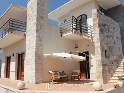 Photo for Beautiful villa at 200 meteres from the sandy beach of San Foca