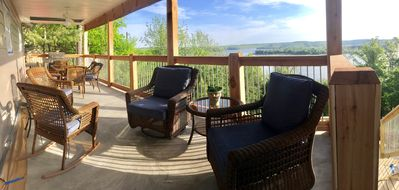 Relax on the upper covered balcony and enjoy the view
