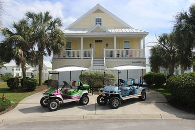 Front of Home, with Custom (4) & (6) seater carts!
