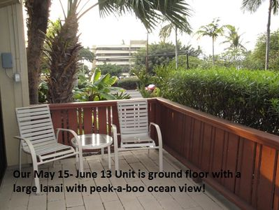Large lanai with a peak-a-boo ocean view.