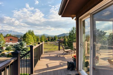The view of Pikes Peak from the deck is amazing!
