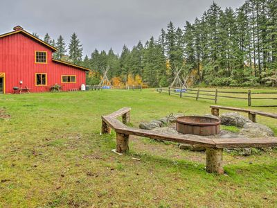 Photo for Rustic Vashon Log Cabin on 10 Acres w/ Rec Barn!