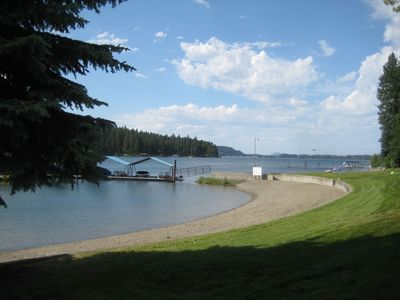 Greenbelt & Private Beach. View north. Kidd Island Bay, Coeur d'Alene.