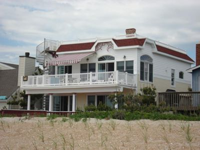 Photo for Surf City Ocean Front home with 7 decks, a huge roof top deck, two master suites, Game room, Hot Tub and elevator  48646