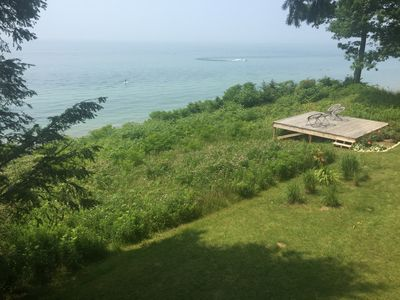 Lawn and deck overlooking Lake Michigan