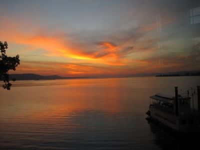 Autumn sunrise from deck of 301, looking south over Lake Pepin