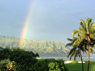 Panoramic Bali Hai, Hanalei Bay, Ocean, Sunsets and Rainbow Views from Home!!
