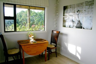 Dining area with coffee, tea, milk and cereal